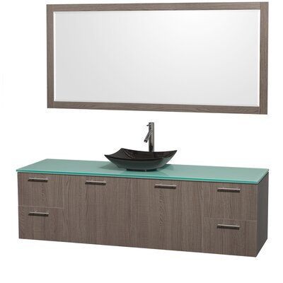 Amare 72 Single Gray Oak Bathroom Vanity Set with Mirror Sink Finish: Black Granite, Top Finish: Green Glass