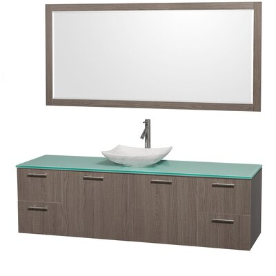 Amare 72 Single Gray Oak Bathroom Vanity Set with Mirror Sink Finish: White Carrera Marble, Top Finish: Green Glass