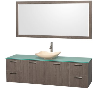 Amare 72 Single Gray Oak Bathroom Vanity Set with Mirror Sink Finish: Ivory Marble, Top Finish: Green Glass