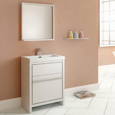 Waldwick 24 Single Modern Bathroom Vanity Set with Mirror Finish: White