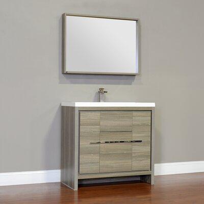 Waldwick 36 Single Modern Bathroom Vanity Set with Mirror Finish: Gray