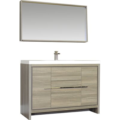 Waldwick 48 Single Modern Bathroom Vanity Set with Mirror Finish: Gray
