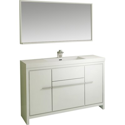 Waldwick 48 Single Modern Bathroom Vanity Set with Mirror Finish: White