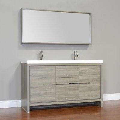 Waldwick 57 Double Modern Bathroom Vanity Set with Mirror Finish: Gray