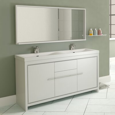 Waldwick 57 Double Modern Bathroom Vanity Set with Mirror Finish: White