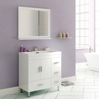 Waldwick 30 Single Modern Bathroom Vanity Set with Mirror