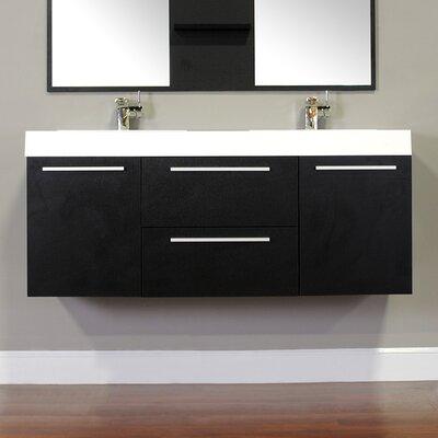 Waldwick 54 Double Wall Mount Modern Bathroom Vanity Set Base Finish: Black