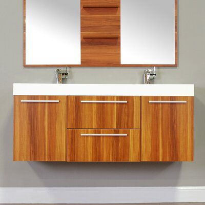 Waldwick 54 Double Wall Mount Modern Bathroom Vanity Set Base Finish: Cherry
