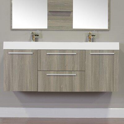 Waldwick 54 Double Wall Mount Modern Bathroom Vanity Set Base Finish: Gray