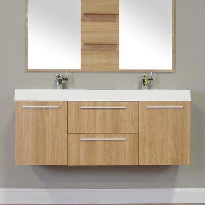 Waldwick 54 Double Wall Mount Modern Bathroom Vanity Set Base Finish: Light Oak