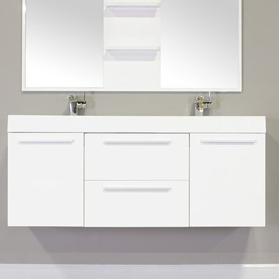 Waldwick 54 Double Wall Mount Modern Bathroom Vanity Set Base Finish: White