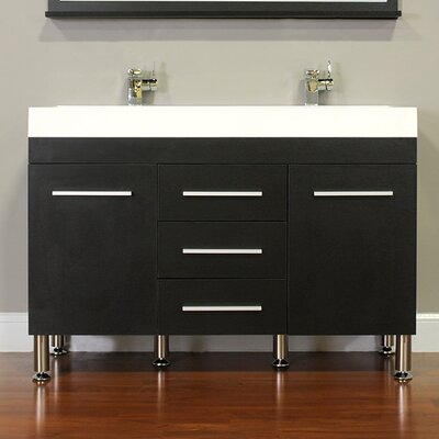 Waldwick 48 Double Modern Bathroom Vanity Set Base Finish: Black