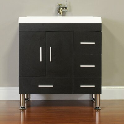 Waldwick 30 Single Modern Bathroom Vanity Set Base Finish: Black