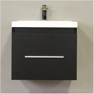 Waldwick 24 Single Wall Mount Modern Bathroom Vanity Set Base Finish: Black