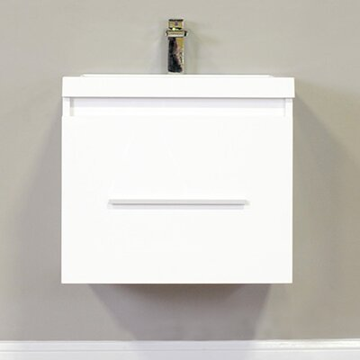 Waldwick 24 Single Wall Mount Modern Bathroom Vanity Set Base Finish: White