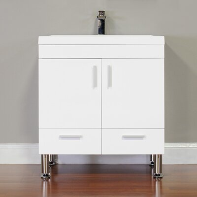 Waldwick 30 Single Modern Bathroom Vanity Set Base Finish: White