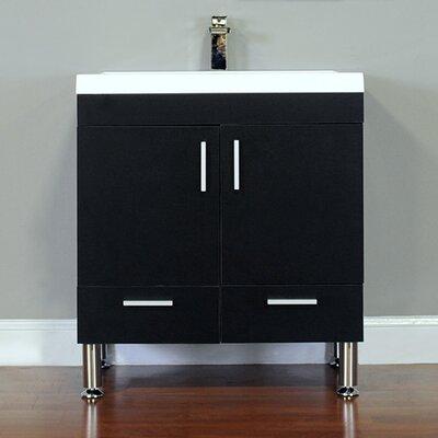Waldwick 30 Single Modern Bathroom Vanity Set Base Finish: Black