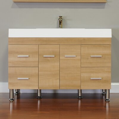 Waldwick 47 Single Modern Bathroom Vanity Set Base Finish: Light Oak