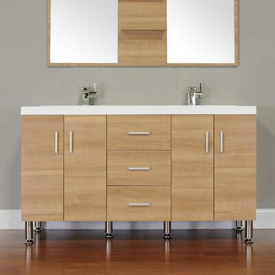 Waldwick 56 Double Modern Bathroom Vanity Set Base Finish: Light Oak