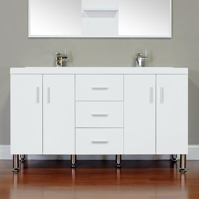 Ripley 56 Double Modern Bathroom Vanity Set Base Finish: White