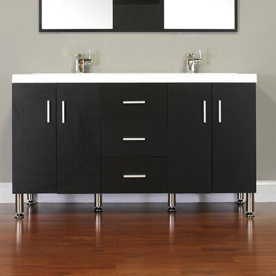 Waldwick 56 Double Modern Bathroom Vanity Set Base Finish: Black
