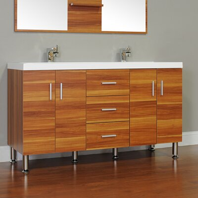 Waldwick 56 Double Modern Bathroom Vanity Set Base Finish: Cherry
