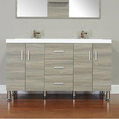 Waldwick 56 Double Modern Bathroom Vanity Set Base Finish: Gray