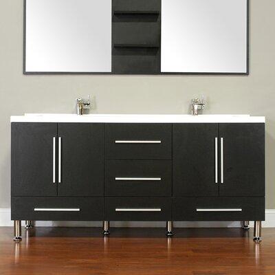 Waldwick 67 Double Modern Bathroom Vanity Set Base Finish: Black