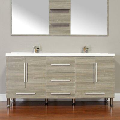 Waldwick 67 Double Modern Bathroom Vanity Set Base Finish: Gray