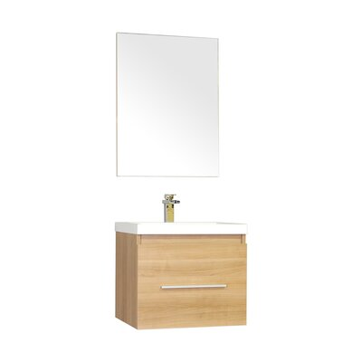 Waldwick 24 Single Wall Mount Modern Bathroom Vanity Set with Mirror Base Finish: Light Oak