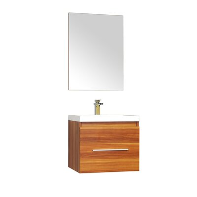 Waldwick 24 Single Wall Mount Modern Bathroom Vanity Set with Mirror Base Finish: Cherry
