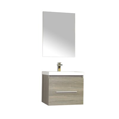 Waldwick 24 Single Wall Mount Modern Bathroom Vanity Set with Mirror Base Finish: Gray
