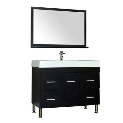 Waldwick 39 Single Modern Bathroom Vanity Set with Mirror Base Finish: Black