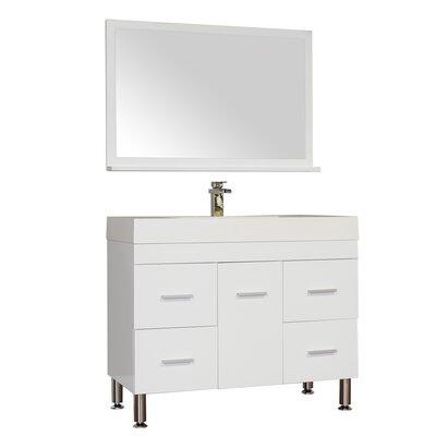 Waldwick 39 Single Modern Bathroom Vanity Set with Mirror Base Finish: White