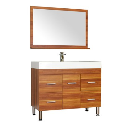 Waldwick 39 Single Modern Bathroom Vanity Set with Mirror Base Finish: Cherry