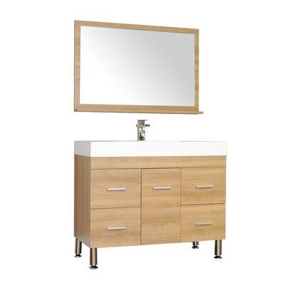 Waldwick 39 Single Modern Bathroom Vanity Set with Mirror Base Finish: Light Oak