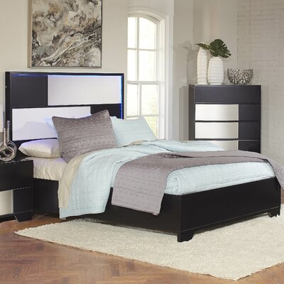 Dawna Panel Bed Size: Queen, Finish: Black