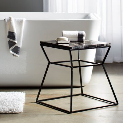 Cali Marble End Table Base Color: Powder Coated Black, Top Color: Black