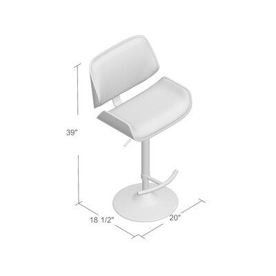 Connor Adjustable Height Swivel Bar Stool Upholstery: Cream, Finish: Walnut