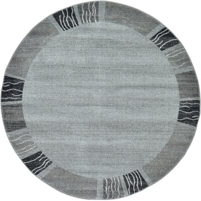 Christi Gray Solid Area Rug Rug Size: Round 6