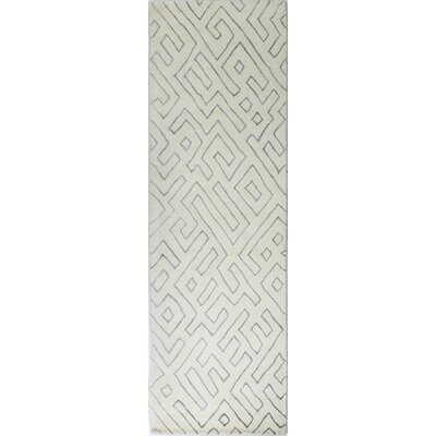 Donnie Hand-Loomed White Area Rug Rug Size: Runner 26 x 8