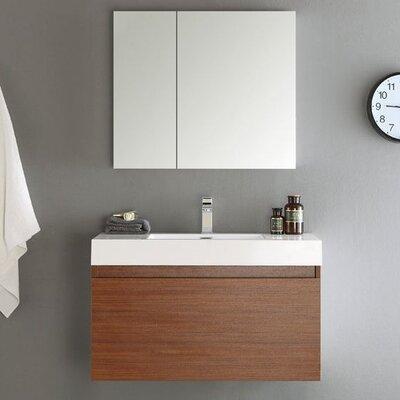 Senza 36 Mezzo Single Wall Mounted Modern Bathroom Vanity Set with Mirror Base Finish: Teak