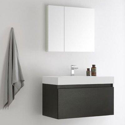 Senza 36 Mezzo Single Wall Mounted Modern Bathroom Vanity Set with Mirror Base Finish: Black