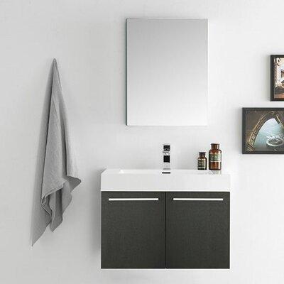 Senza 30 Vista Single Wall Mounted Modern Bathroom Vanity Set with Mirror Base Finish: Black