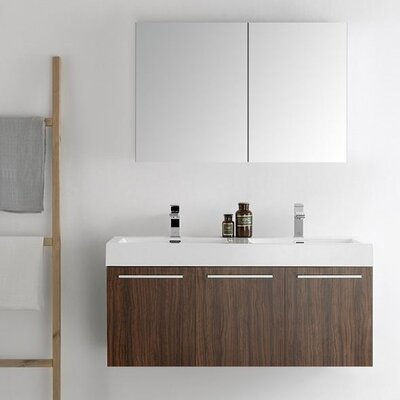 Senza 48 Vista Double Wall Mounted Modern Bathroom Vanity Set with Mirror Base Finish: Walnut
