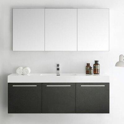 Senza 60 Vista Single Wall Mounted Modern Bathroom Vanity Set with Mirror Base Finish: Black