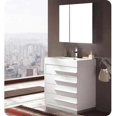 Senza 30 Single Livello Modern Bathroom Vanity Set Base Finish: White