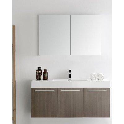Senza 48 Vista Single Wall Mounted Modern Bathroom Vanity Set with Mirror Base Finish: Gray Oak