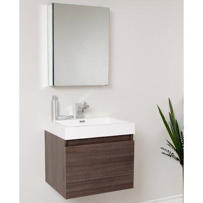 Senza 24 Single Nano Modern Bathroom Vanity Set with Mirror Base Finish: Gray Oak