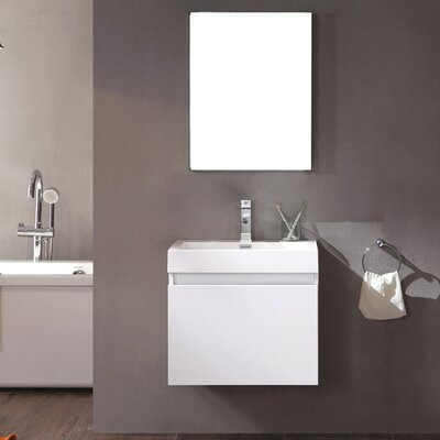 Senza 24 Single Nano Modern Bathroom Vanity Set with Mirror Base Finish: White